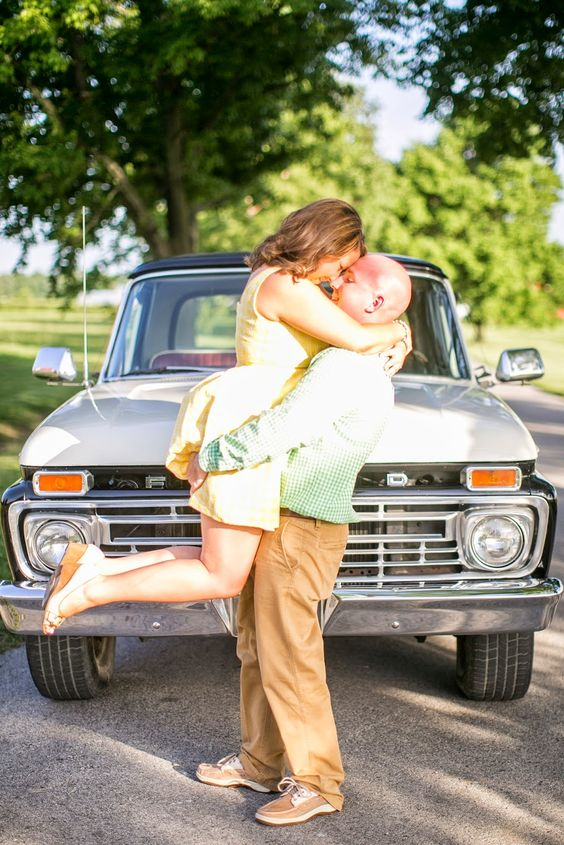 Reid's Orchard Engagement Pictures with vintage truck