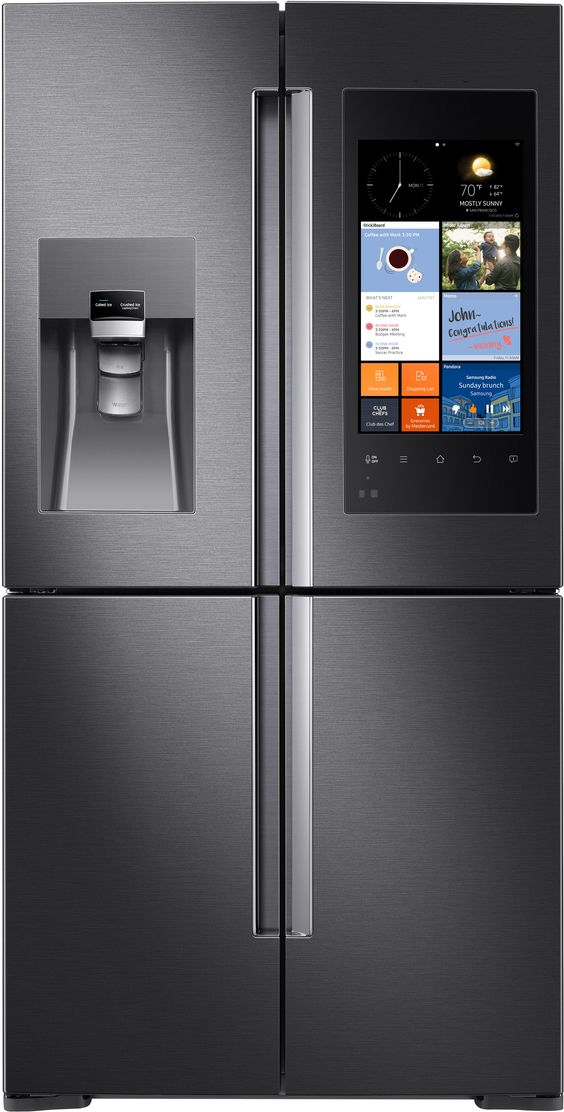 """Samsung RF28K9580SG 36"""" Family Hub Series French Door Refrigerator with 27.9 cu. ft. Total Capacity, 5 Glass Shelves, 5.75 cu. ft. Freezer Capacity, External Water Dispenser, Crisper Drawer, Automatic Defrost, Energy Star Certified, Triple Cooling, Metal Cooling, Family Hub, FlexZone™ in Black Stainless Steel"""