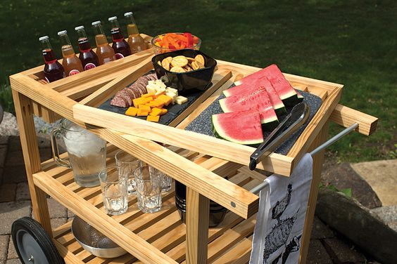 "Make outdoor entertaining easy with this serving cart. It offers lots of space for storing food, tableware, and outdoor supplies, plus it cradles bottles where they're easy to reach but protected from spills. The top ""shelf"" is a lift-off tray, so you can carry supplies from the cart to your table.:"