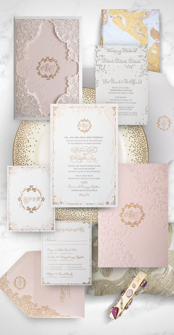Laser Cut Lace Inspired Wedding Invitation With Gold And