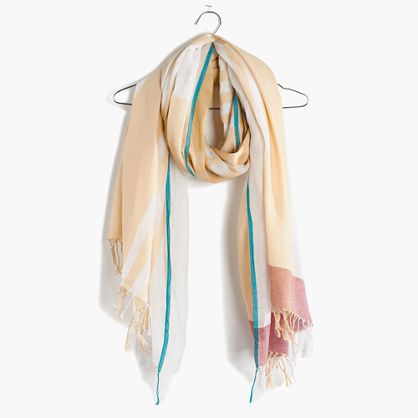 "Based in Calcutta, Aish was founded by world traveler (and textile lover) Nupur Goenka. She collaborates with artisans across India, commissioning stunning, wearable pieces that employ age-old weaving and dyeing techniques, all done by hand. Consider this scarf—it's made of hand-loomed muslin in a versatile (and utterly unique) graphic pattern.  <ul><li>Cotton.</li><li>30 7/10""L x 15 7/10""W.</li><li>Dry clean.</li><li>Import.</li><li>Madewell.com only.</li></ul>"
