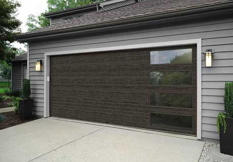 Clopay Modern Steel Collection Garage Door With Windows In New Slate Ultra Grain Finish Clopaydoor C Garage Door Design Modern Garage Doors Garage Door Styles