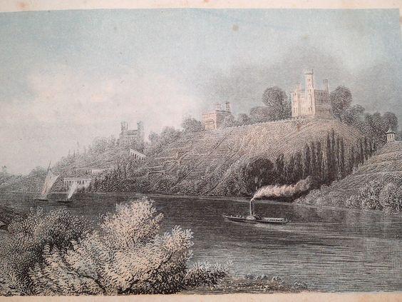 1860, Stahlstich / Lithografie , Schlösser der Elbe, Kuhstall Sächsische Schweiz