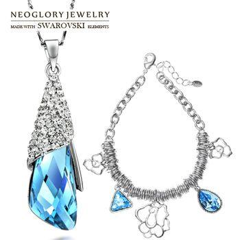 Neoglory MADE WITH SWAROVSKI ELEMENTS Crystal Rhinestone Necklace & Bracelet Statement Jewelry Set  Women Present   2014