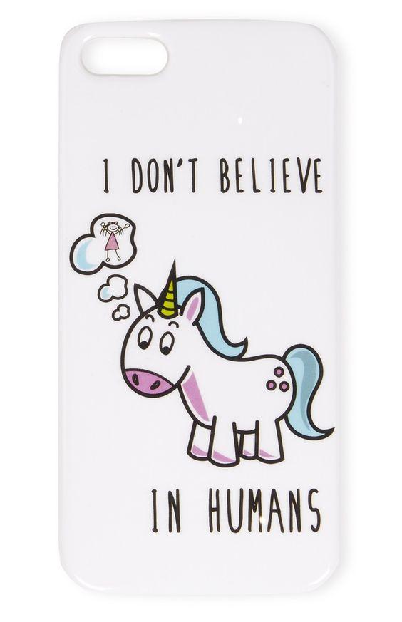 Carcasa de iPhone 5 blanca con unicornio