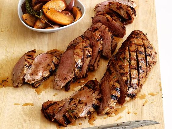 Recipe of the Day: Food Network Magazine's Quick, Juicy Pork with Peaches          As the pork grills, brush it with a rosemary-mustard glaze, then serve it with warm, tender peaches.          #RecipeOfTheDay