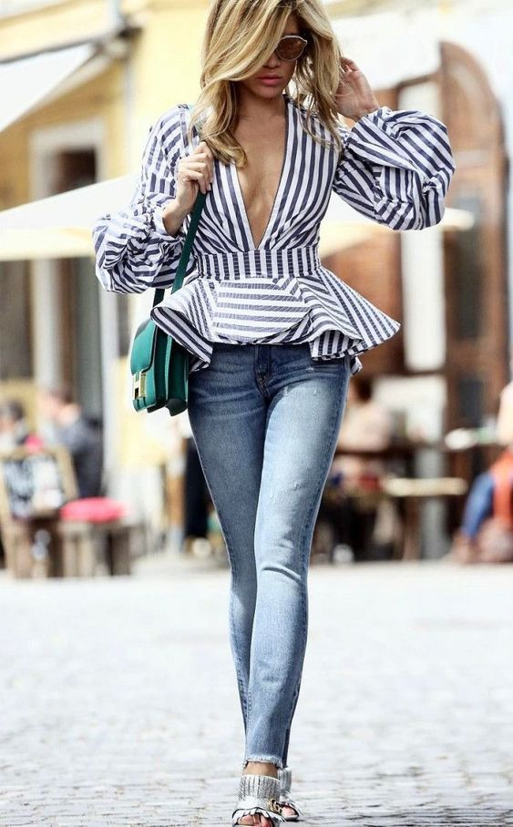 incredible outfit idea to try : striped top   bag   jeans   heels