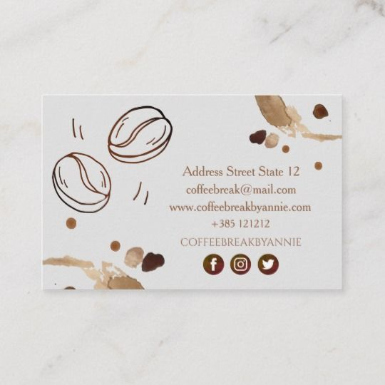 Coffee Stain And Beans Business Card Zazzle Co Uk