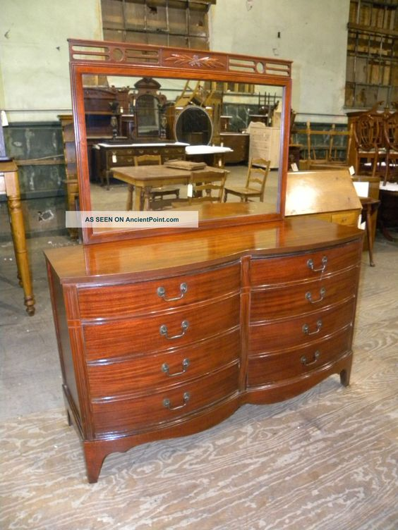 Antique Double Bow Front Dixie Bedroom Furniture Mahogany Dresser With Mirror 1900 1950 Photo