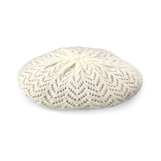 Ivory Knitted Beret (€8,78) ❤ liked on Polyvore featuring accessories, hats, beret hat and white winter hat