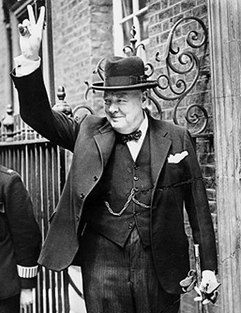 Winston Churchill at Downing Street, London. He was elected to my Board of Directors for his gift of oration --delivering a message through speech-- and his steadfast dedication in standing for what was 'right'...