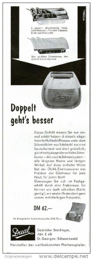Original-Werbung/Inserat/ Anzeige 1957 - DUAL RASIERAPPARAT ca. 90 x 250 mm