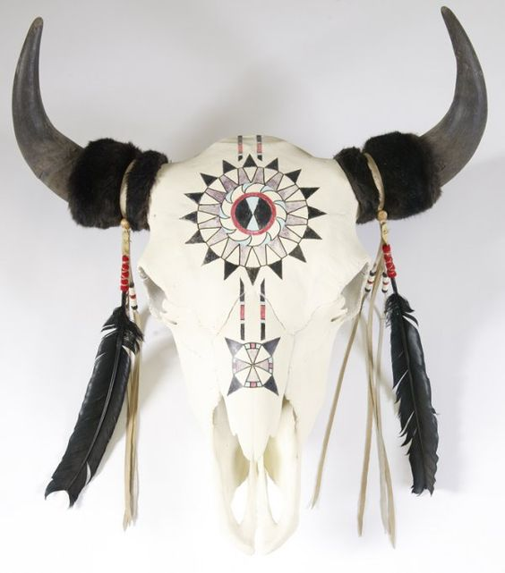 330: 20th C. Paint Decorated Buffalo Skull w/Horns : Lot 330 www.liveauctioneers.com600 × 682Search by image Share on facebook Share on Twitter Share on Pinterest Share on Email