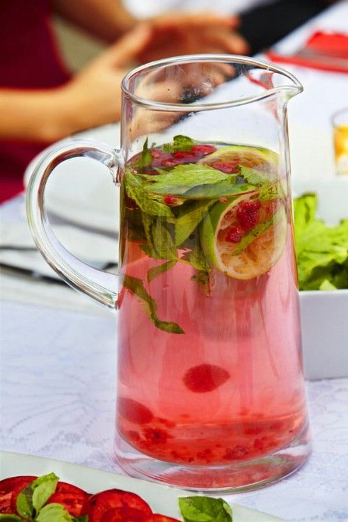 Raspberry and Mint Water - detox water to help flush those toxins from your kidneys, liver and colon. You will need about half a gallon of spring or purified water, 2 tablespoons of raspberries – these can be fresh or frozen – and two tablespoons of fresh mint leaves. You also need a medium sized lime. Just slice the lime and add it along with the mint leaves and raspberries to your water in a large pitcher. Muddle the raspberries just a bit if you want more flavor and you can microwave the…
