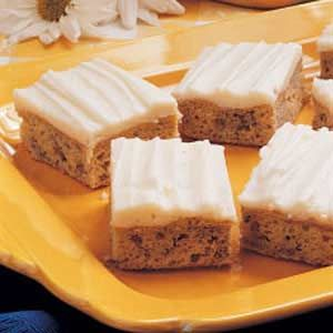 """Frosted Banana Bars.Frosted Banana Bars """"I make these moist bars whenever I have ripe bananas on hand, then store them in the freezer to share later at a potluck. With creamy frosting and big banana flavor, this treat is a real crowd-pleaser."""" - from the kitchen of Debbie Knight in Marion, Iowa. #shopfesta"""