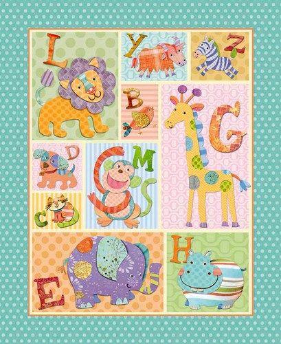 1 panel quilt fabric alphabet zoo animal fabric kids for Childrens elephant fabric