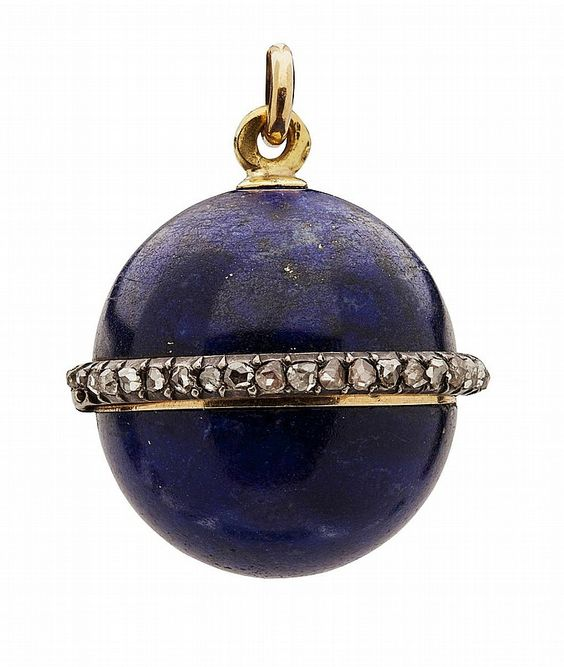 A lapis lazuli and diamond set ball pendant, with mark for Fabergé to top fixed…