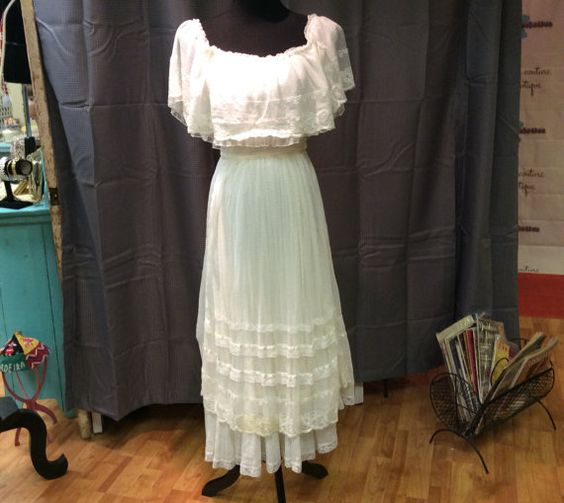 1970's Gunne Sax White Tea Dress perfect wedding dress!  by LisaLaRueRetroActive, $74.95