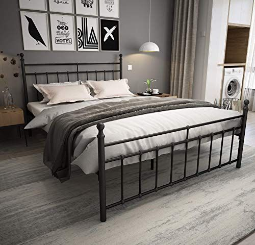The Metal Bed Frame Queen Size Black Ball Headboard Footboard The Country Style Iron Art Double Bed The Metal Structure Matte Black Baking Paint Sturdy Metal In 2020 Metal Beds Queen Size Bed