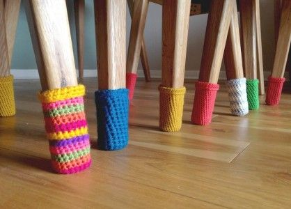 Crochet chair socks for all your scuffables.