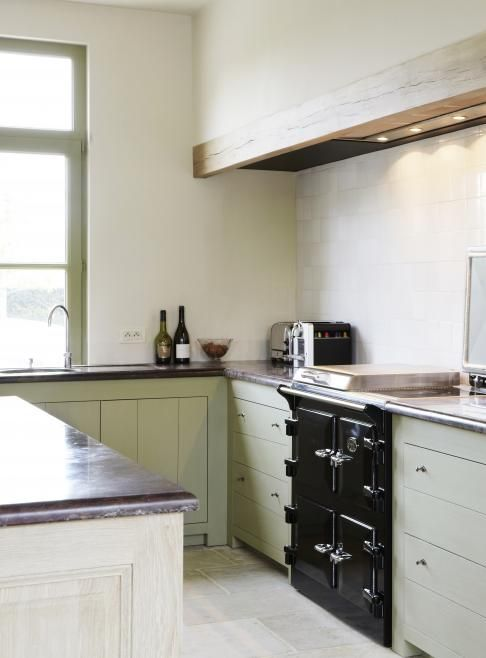 groene keuken Maison Belle kitchen keuken Pinterest