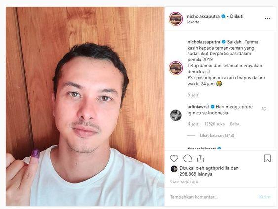 Selfie pertama Nicholas Saputra