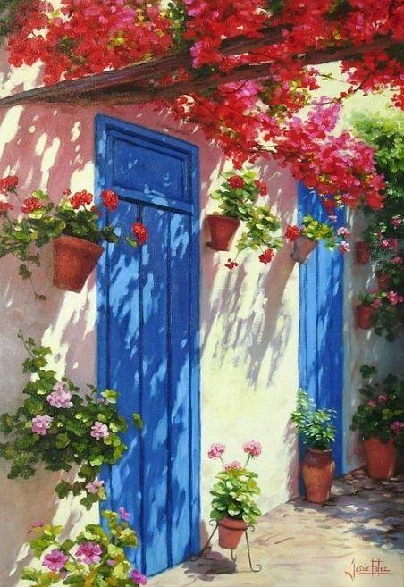 Blue door and bouganvillea