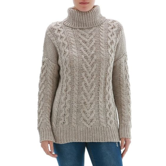 Roll Neck Cable Knitted Jumper ($14) ❤ liked on Polyvore featuring tops, sweaters, roll neck jumper, knit jumper sweater, cable knit jumper, roll neck sweater and knit sweater