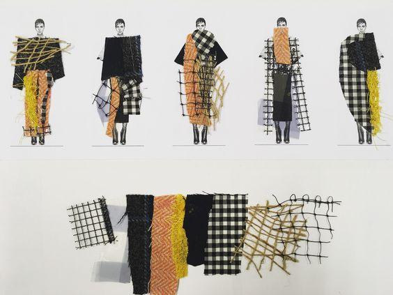Crear diseños mediante el collage o mezclando bocetos y tejidos, hilos o fibras.