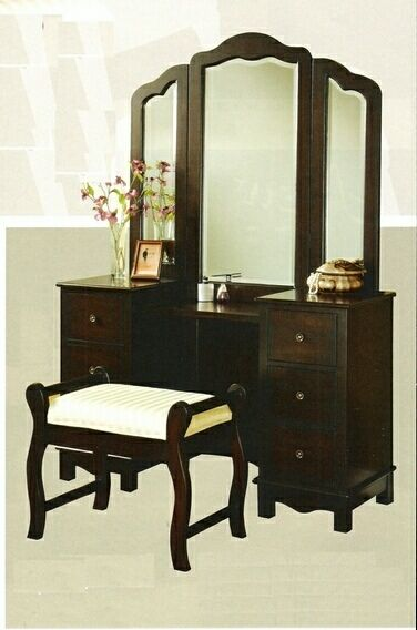 3 Pc Espresso Finish Wood Large Size Bedroom Make Up Vanity Set With Tri Fo