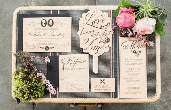Wooden Wedding Stationery