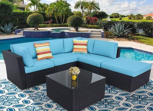 New Incbruce Patio Furniture Sofa Set 4 Piece Outdoor Sectional Sofa 5 Seats Ottoman Black Wincker Tempered Glass Top Table Sky Blue Washable Cushion Ga Furniture Sofa Set Outdoor Sectional