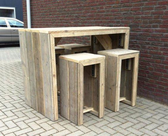 Gebruikt steigerhout bar tafel met bar kruk tafel tuin pinterest met en bar - Cuisin e met bartafel ...