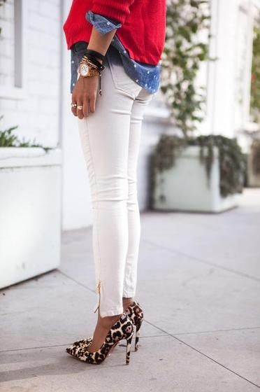 Nice combination. white jeans polka dot blouse leopard print