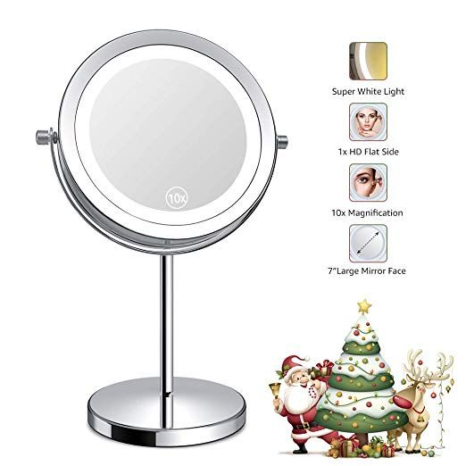 Benbilry Lighted Makeup Mirror Led Double Sided 1x 10x Magnification Round Standing Cosmetic Mirror 7 Inch Diameter Battery Powered 360 Degree Swivel Rotation V Cosmetic Mirror Makeup Mirror With Lights Makeup Mirror
