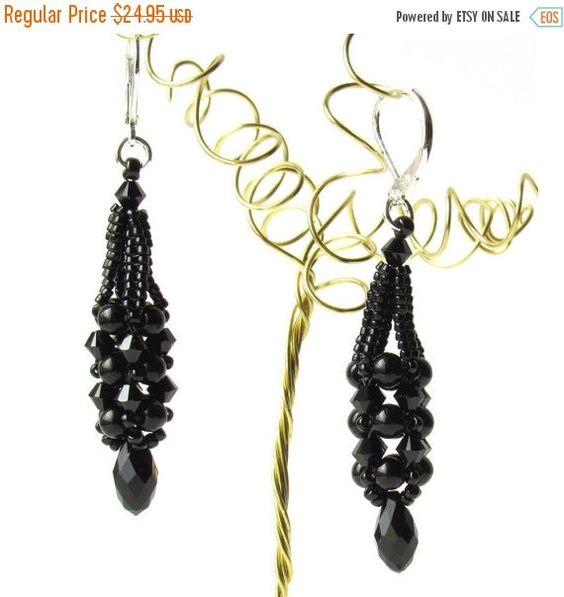 ON SALE Black Crystal Teardrop Earrings On by PeggyGsBaubles