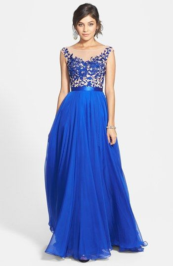Sherri Hill Cap Sleeve Lace &amp Chiffon Gown available at Nordstrom ...