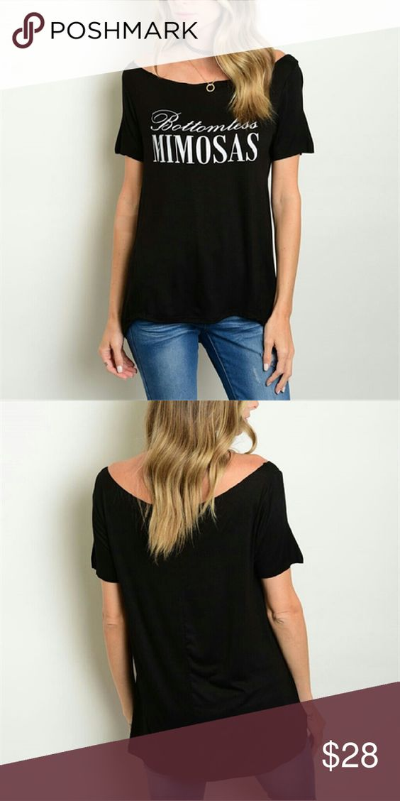 Black Bottomless Mimosas Top New black Bottomless Mimosas Top Fabric: 96% Rayon 4% Spandex See all styles for more follow us to see new items posted daily! We carry limited edition makeup, makeup brushes and all ladies fashions! Rima Imar Tops Blouses
