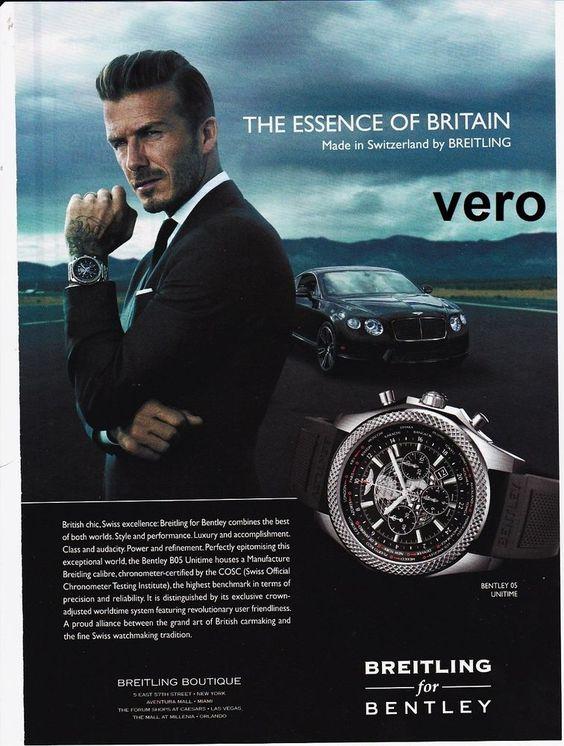 BREITLING 2014 watch mag ad print BENTLEY B05 UNITIME clipping DAVID BECKHAM