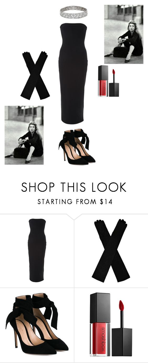 """""""Carolyn Bessette Kennedy Inspired Creation"""" by butterflyjones ❤ liked on Polyvore featuring Flagpole, Gianvito Rossi, Smashbox, LittleBlackDress and LBD"""