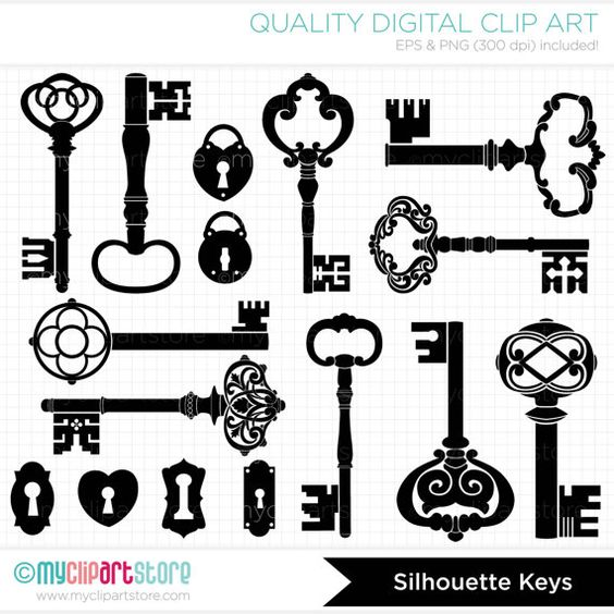 Digital Stamps  Skeleton Keys Black Silhouettes  by MyClipArtStore
