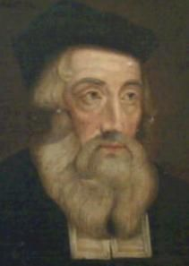 """John Wyclif, teacher of divinity and an advisor to Joh  of Gaunt in the 1370s. He denied transubstantiation - the doctrine that the communion bread and wine really become the body and blood of Christ during the celebration of the Eucharist. His additions to the bible, known as """"The Lollard Bible,"""" paved the way for Lutheranism in England."""
