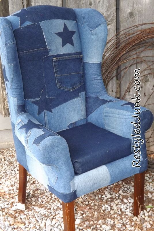 Blue Jean Upholstered Chair. Also, take a look at this AMAZING NEW THRIFT STORE APP at http://xthrift.com: