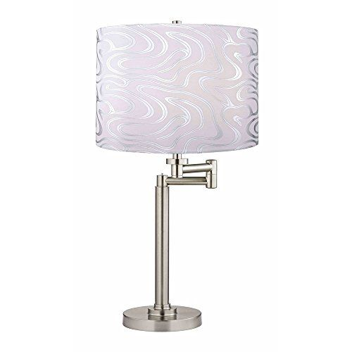 Swing-Arm Table Lamp with Silver Wave Lamp Shade Design C...