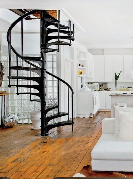 Space saving spiral staircase - not sure if this would work but if it fits it would look great going up to the mezzanine