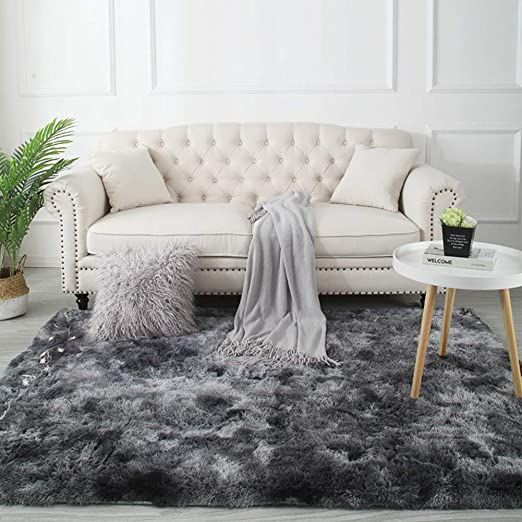 Xueliaikee Super Soft Shag Rug For Living Room Plush Fluffy High Pile Area Rug Thick Anti Skid I Gray Rug Living Room Shag Rug Living Room Rugs In Living Room