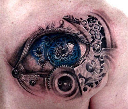 biomechanical eye 3d tattoo on back shoulder - http://tattooswall.com/biomechanical-eye-3d-tattoo-on-back-shoulder.html #3d, back, biomech tattoos, biomechanical, eye, on, shoulder, tattoo