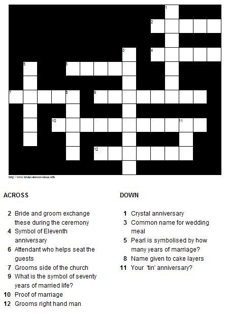 Generic Wedding / Shower Crossword