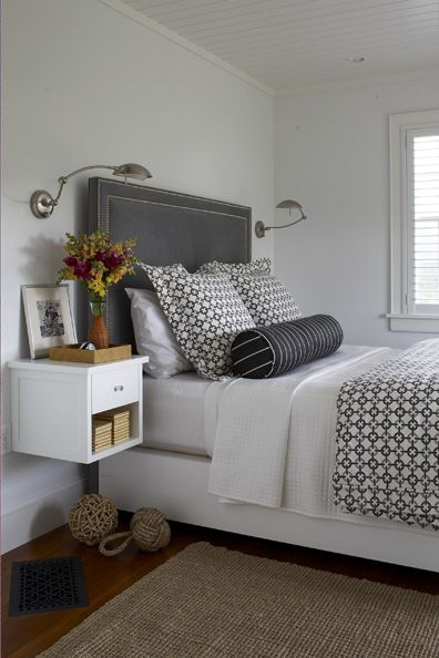 Love Kathleen's idea to keep it light and airy in a small space with a floating bedside table.