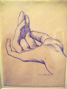 """""""La Main"""", (1944). Desenho a lápis e tinta de  Man Ray."""